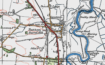 Old map of Sutton on Trent in 1923