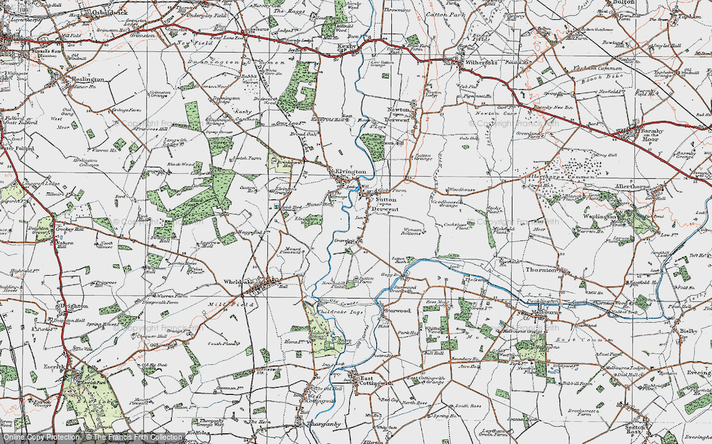 Old Map of Sutton upon Derwent, 1924 in 1924