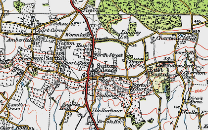 Old map of Sutton Valence in 1921