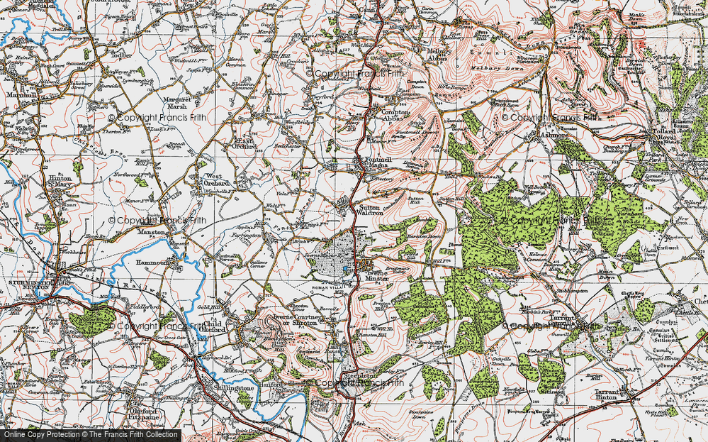Old Map of Historic Map covering Bareden Down in 1919