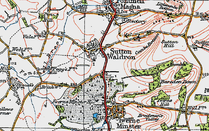 Old map of Bareden Down in 1919