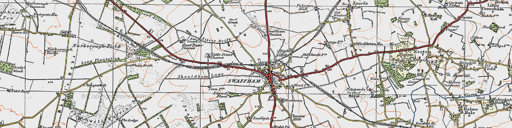 Old map of Swaffham in 1921