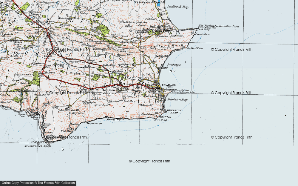 Old Map of Historic Map covering Tilly Whim Caves in 1919