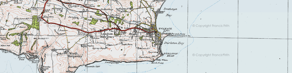 Old map of Tilly Whim Caves in 1919