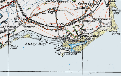 Old map of Swanbridge in 1919