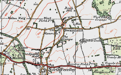 Old map of Swanland in 1924