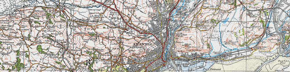 Old map of Swansea in 1923