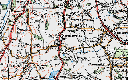 Old map of Swanwick in 1921