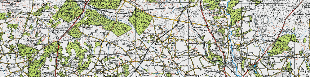 Old map of Sway in 1919