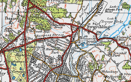 Old map of Woodmill in 1919