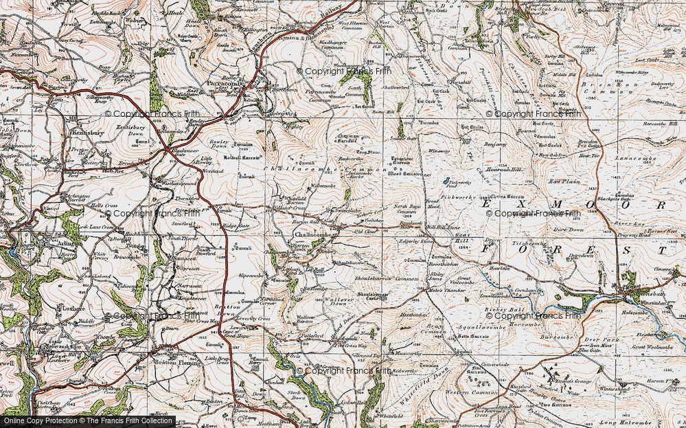 Old Map of Historic Map covering Wood Barrow in 1919