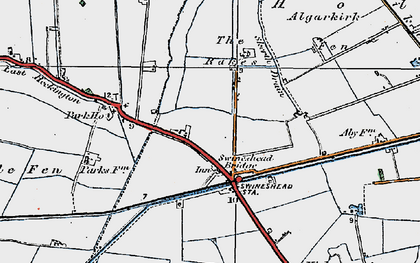 Old map of Algarkirk Fen in 1922