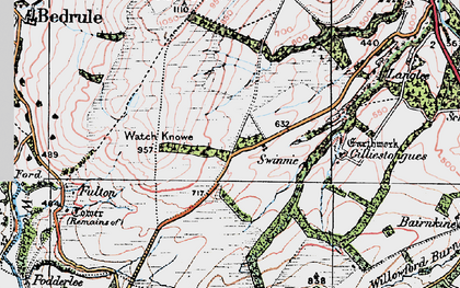 Old map of Wester Fodderlee in 1926
