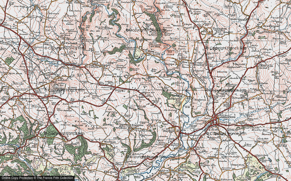 Old Map of Historic Map covering Caltonmoor Ho in 1921