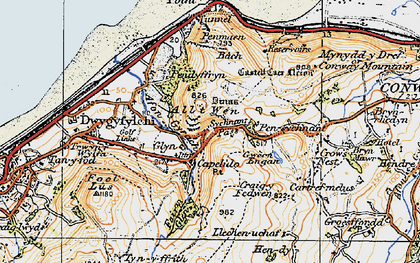 Old map of Sychnant Pass in 1922