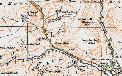 Old map of Trough of Bowland in 1924