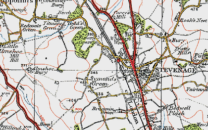 Old map of Symonds Green in 1920