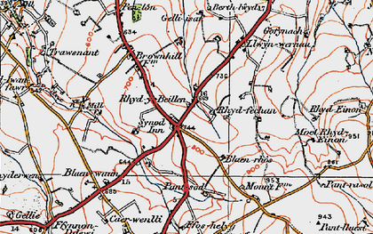 Old map of Bannau Duon in 1923