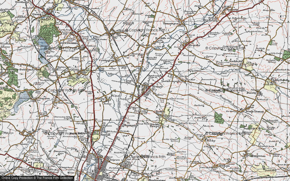 Old Map of Historic Map covering Barkby Lodge in 1921