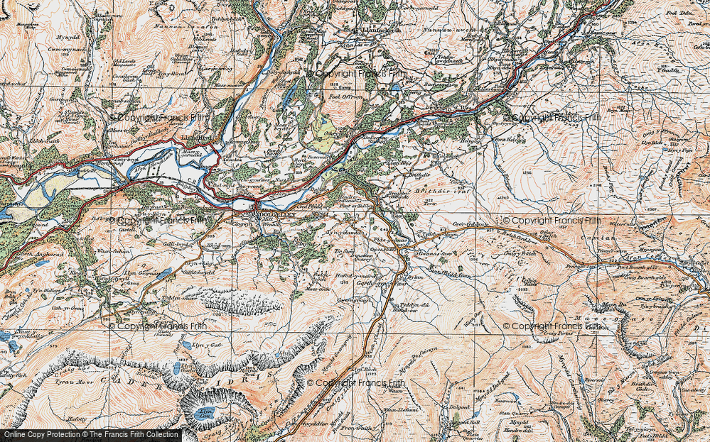 Old Map of Historic Map covering Afon Clywedog in 1921