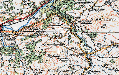 Old map of Afon Clywedog in 1921