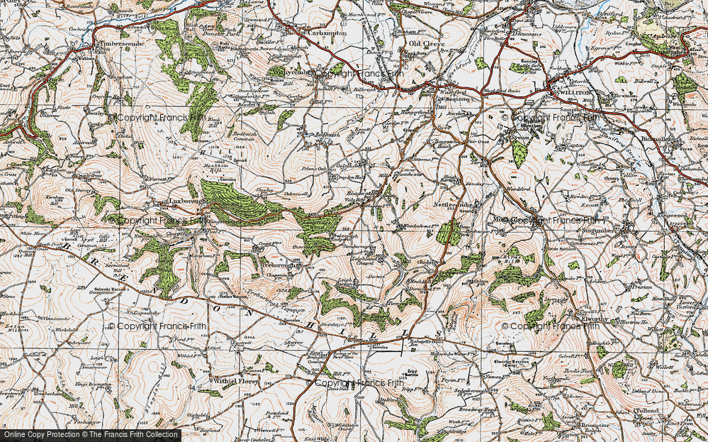 Old Map of Historic Map covering Langridge Wood in 1919