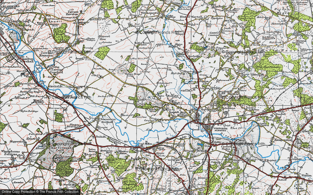 Old Map of Historic Map covering Badbury Rings in 1919
