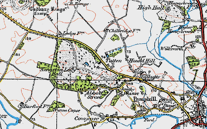 Old map of Badbury Rings in 1919