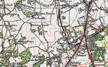 Old map of Tadworth in 1920