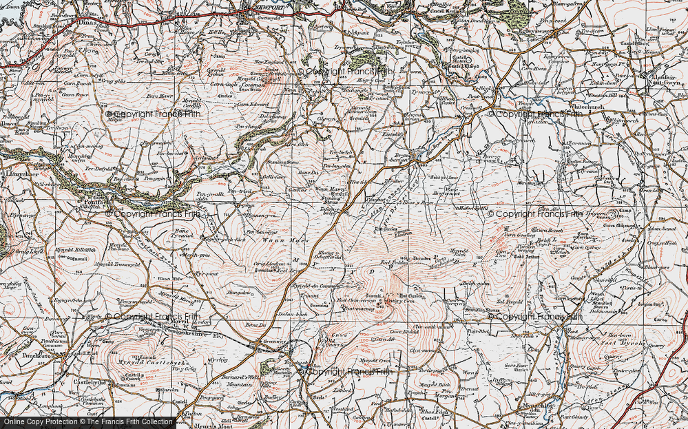 Old Map of Historic Map covering Afon Pennant in 1922