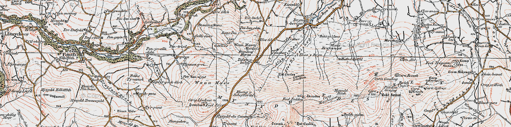Old map of Afon Pennant in 1922