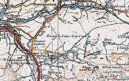 Old map of Tairgwaith in 1923