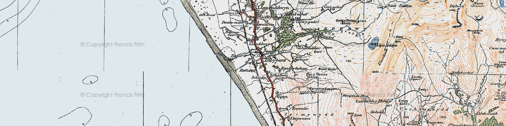 Old map of Tal-y-bont in 1922