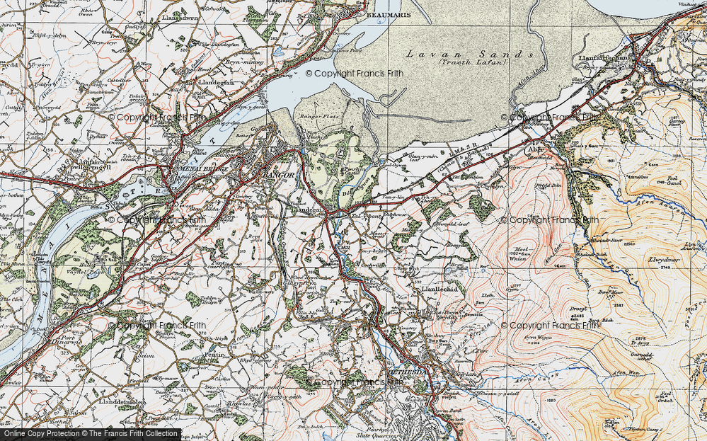 Old Map of Historic Map covering Aber-Ogwen in 1922