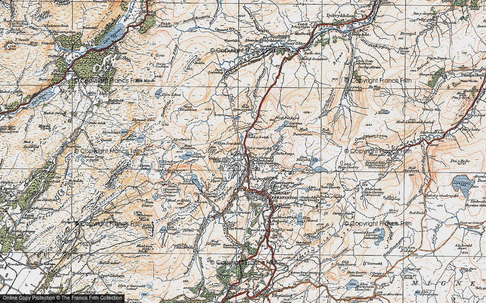 Old Map of Historic Map covering Afon Barlwyd in 1922
