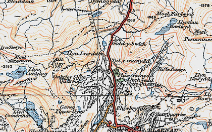Old map of Allt y Ceffylau in 1922