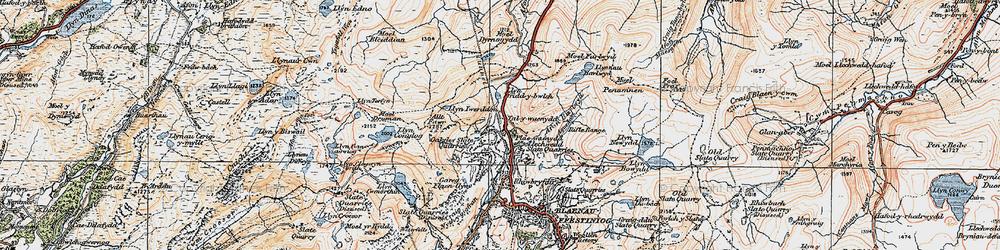 Old map of Afon Barlwyd in 1922