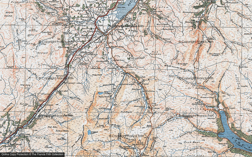 Old Map of Historic Map covering Afon Fechan in 1921