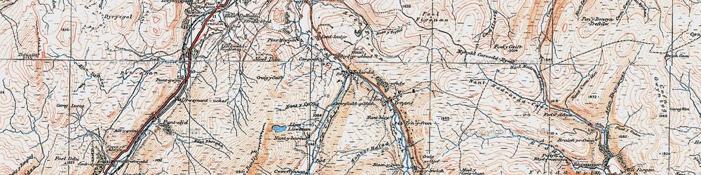 Old map of Afon Fechan in 1921