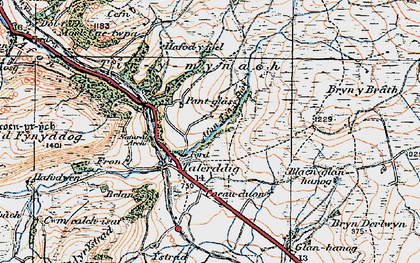 Old map of Afon Tyn-y-rhos in 1921