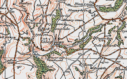 Old map of Afon-fach-Pontgarreg in 1923