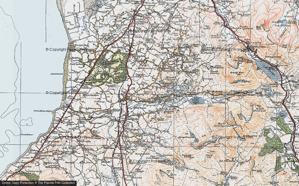 Old Map of Historic Map covering Afon Llyfni in 1922