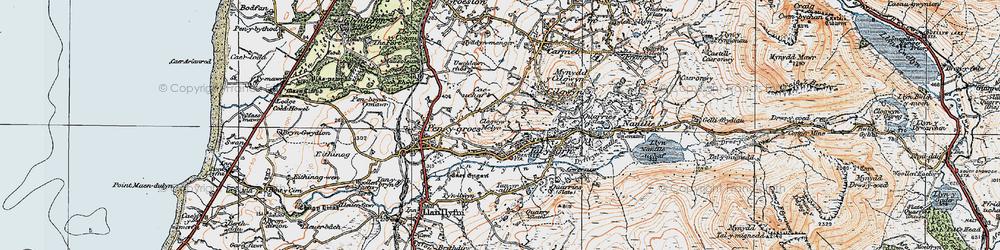 Old map of Afon Llyfni in 1922