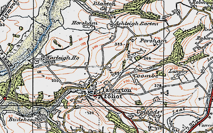 Old map of Ashleigh Barton in 1919