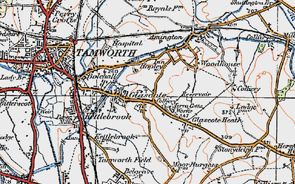 Old map of Tamworth in 1921