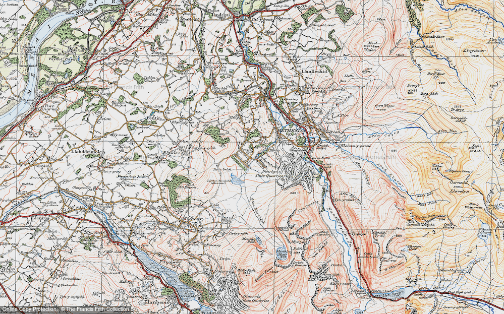 Old Map of Historic Map covering Afon Marchlyn-mawr in 1922