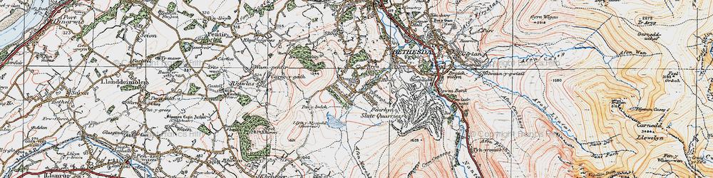 Old map of Afon Marchlyn-mawr in 1922