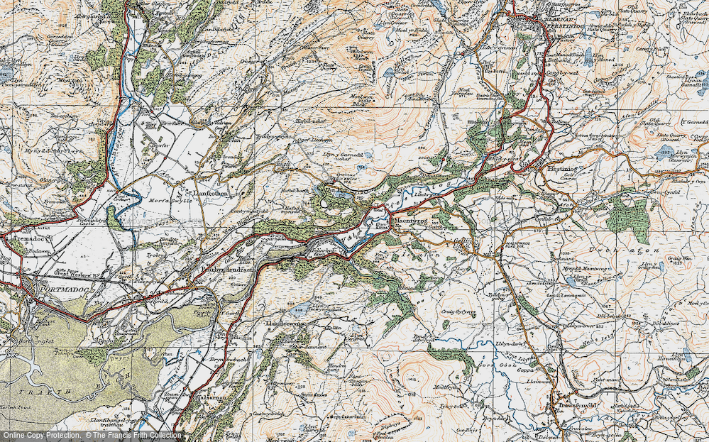 Old Map of Historic Map covering Afon Dwyryd in 1922