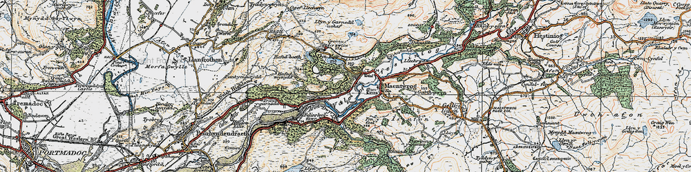 Old map of Tan-y-Bwlch in 1922