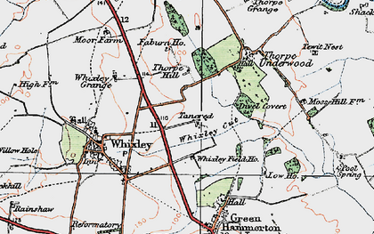 Old map of Whixley Field Ho in 1925